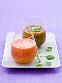 Two different savoury smoothies