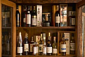 Old wines in cabinet