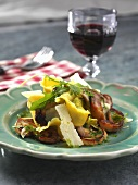 Mushroom salad with herb dressing