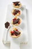 Chocolate mousse and berries in yufka pastry shells