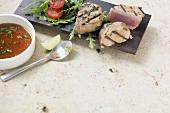 Teriyaki tuna with tomato and rocket salad
