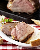 Grilled, marinated leg of lamb
