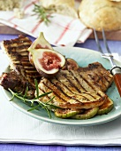 Grilled pork chops with fig stuffing