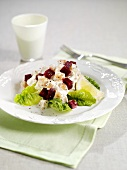 Lettuce with chicken, swede and beetroot