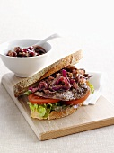Beef sandwich with balsamic onions