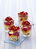 Strawberry trifle in four glasses