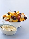 Fruit salad with honey cream