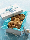 Almond macaroons in Christmas wrappings