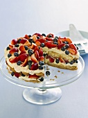 Tiramisu cake with berries, a piece taken