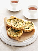 Individual spinach quiches