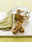 Muesli bars with pieces of apricot