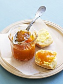 Bread roll and apricot jam with cardamom