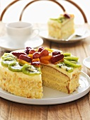 Almond sponge cake topped with fruit