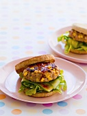Chicken and sweetcorn burger with cucumber