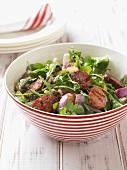 Mixed salad with chorizo