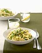 Ribbon pasta with leeks, peas and mint