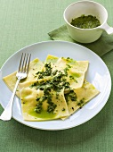 Lemon and ricotta ravioli with pesto