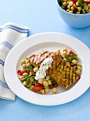 Grilled fish fillet with chick-pea salad