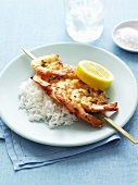 Grilled lemon and garlic prawns with rice