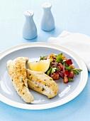 Fried fish fillets with lemon