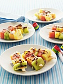 Fruit kebabs with chocolate sauce