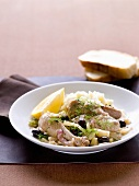 Braised chicken with fennel and olives