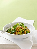 Bean and chick-pea salad with fresh coriander