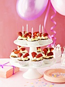 Carrot cupcakes with cream cheese & strawberries (child's birthday)