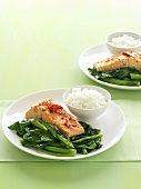 Salmon fillet with pak choi and rice