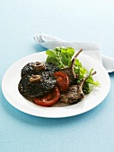 Lamb chops with Portobello mushrooms