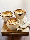 Chicken, mushroom and leek pies