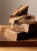 Pieces of chocolate, stacked