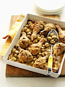 Chicken legs with button mushrooms