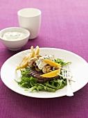 Beefsteak with lemon and mushroom skewers and yoghurt dip