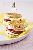 Round toasted ham sandwiches