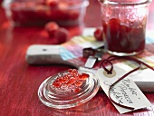 Raspberry and Prosecco jam with label