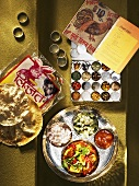 Spices, flatbread and meal on tray (thali)