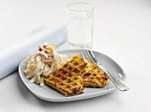 Potato waffles with white cabbage salad
