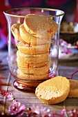 Several sponge biscuits in a glass