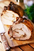 Rolled pork roast with onion stuffing