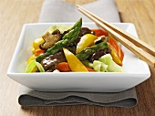 Stir-fried beef and vegetables (Asia)