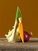 Leek, carrot, red onion and iceberg salad