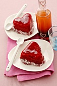 Heart-shaped strawberry mousse with strawberry jelly & coconut
