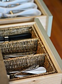 Opened cutlery drawers