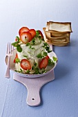 Soft cheese with strawberries and cress, crackers