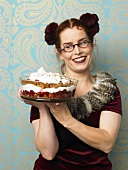 Woman serving Black Forest style trifle