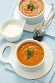 Cream of tomato soup with coriander
