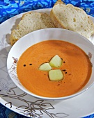 Chilled tomato soup with ice cubes