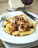 Penne with chicken cacciatore