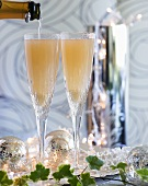 Two Bellinis (sparkling wine cocktails) for Christmas